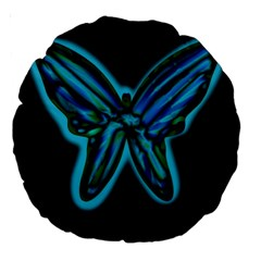 Blue Butterfly Large 18  Premium Round Cushions by Valentinaart