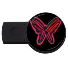 Red Butterfly Usb Flash Drive Round (2 Gb)