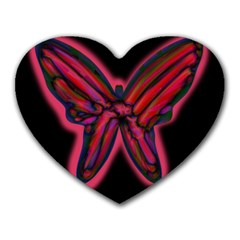 Red Butterfly Heart Mousepads by Valentinaart