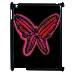 Red Butterfly Apple Ipad 2 Case (black) by Valentinaart