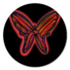 Red Butterfly Magnet 5  (round) by Valentinaart