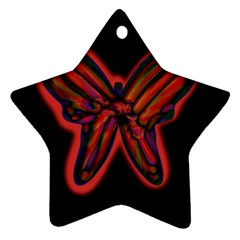 Red Butterfly Star Ornament (two Sides)  by Valentinaart