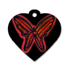 Red Butterfly Dog Tag Heart (two Sides) by Valentinaart