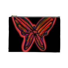 Red Butterfly Cosmetic Bag (large)  by Valentinaart