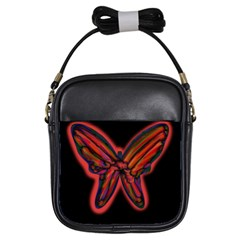 Red Butterfly Girls Sling Bags by Valentinaart
