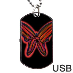 Red Butterfly Dog Tag Usb Flash (two Sides)  by Valentinaart