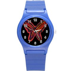 Red Butterfly Round Plastic Sport Watch (s) by Valentinaart