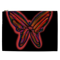 Red Butterfly Cosmetic Bag (xxl)  by Valentinaart