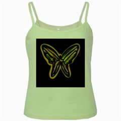 Night Butterfly Green Spaghetti Tank by Valentinaart