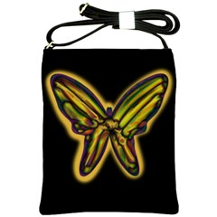 Night Butterfly Shoulder Sling Bags by Valentinaart