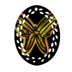Night Butterfly Ornament (oval Filigree)  by Valentinaart