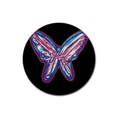 Neon Butterfly Rubber Coaster (round)