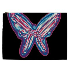 Neon Butterfly Cosmetic Bag (xxl)  by Valentinaart