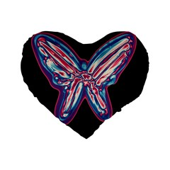 Neon Butterfly Standard 16  Premium Flano Heart Shape Cushions by Valentinaart