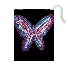 Neon Butterfly Drawstring Pouches (extra Large) by Valentinaart