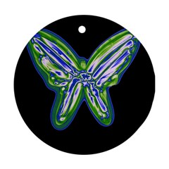 Green Neon Butterfly Ornament (round)  by Valentinaart