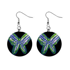 Green Neon Butterfly Mini Button Earrings