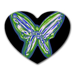 Green Neon Butterfly Heart Mousepads by Valentinaart