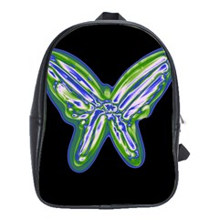 Green Neon Butterfly School Bags(large)  by Valentinaart