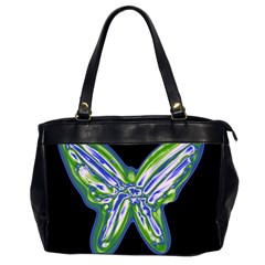 Green Neon Butterfly Office Handbags (2 Sides)  by Valentinaart