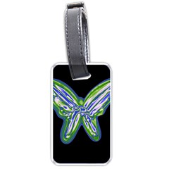 Green Neon Butterfly Luggage Tags (two Sides) by Valentinaart