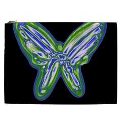 Green Neon Butterfly Cosmetic Bag (xxl)  by Valentinaart