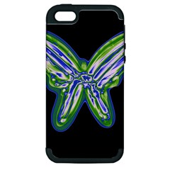 Green Neon Butterfly Apple Iphone 5 Hardshell Case (pc+silicone) by Valentinaart