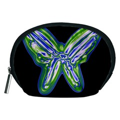 Green Neon Butterfly Accessory Pouches (medium)  by Valentinaart