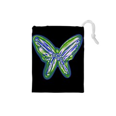 Green Neon Butterfly Drawstring Pouches (small)  by Valentinaart