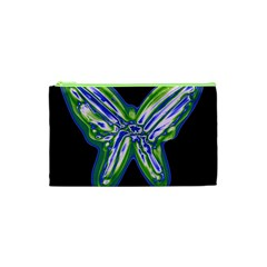 Green Neon Butterfly Cosmetic Bag (xs) by Valentinaart