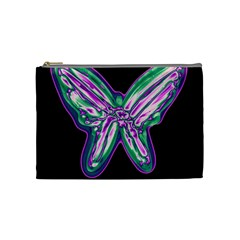 Neon Butterfly Cosmetic Bag (medium)  by Valentinaart
