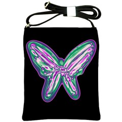 Neon Butterfly Shoulder Sling Bags by Valentinaart