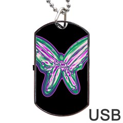 Neon Butterfly Dog Tag Usb Flash (one Side) by Valentinaart