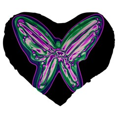 Neon Butterfly Large 19  Premium Flano Heart Shape Cushions by Valentinaart