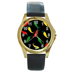 Chili Peppers Round Gold Metal Watch by Valentinaart