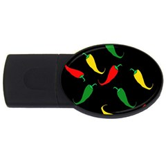 Chili Peppers Usb Flash Drive Oval (2 Gb)  by Valentinaart