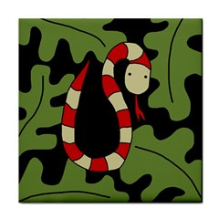 Red Cartoon Snake Tile Coasters by Valentinaart