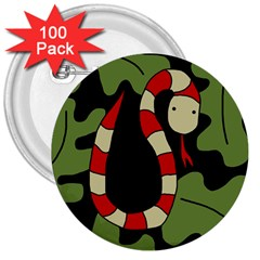 Red Cartoon Snake 3  Buttons (100 Pack)  by Valentinaart