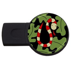 Red Cartoon Snake Usb Flash Drive Round (2 Gb)  by Valentinaart