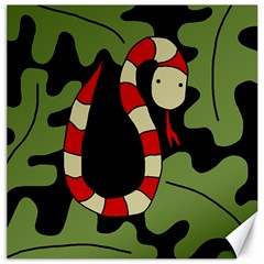 Red Cartoon Snake Canvas 16  X 16   by Valentinaart