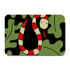 Red Cartoon Snake Plate Mats by Valentinaart