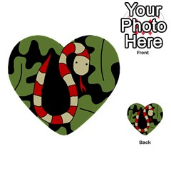 Red Cartoon Snake Multi Purpose Cards (heart)  by Valentinaart