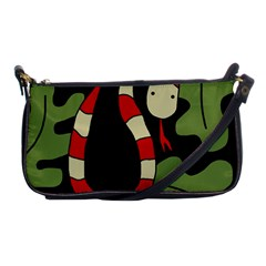 Red Cartoon Snake Shoulder Clutch Bags by Valentinaart