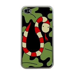 Red Cartoon Snake Apple Iphone 4 Case (clear)