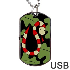 Red Cartoon Snake Dog Tag Usb Flash (two Sides)  by Valentinaart