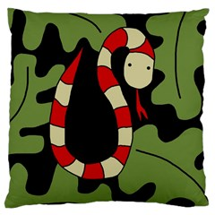 Red Cartoon Snake Large Cushion Case (two Sides) by Valentinaart