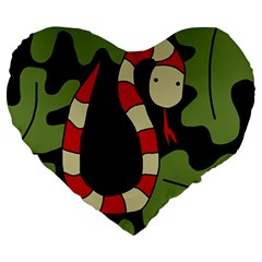 Red Cartoon Snake Large 19  Premium Heart Shape Cushions by Valentinaart