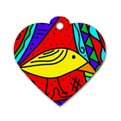 Yellow Bird Dog Tag Heart (two Sides) by Valentinaart