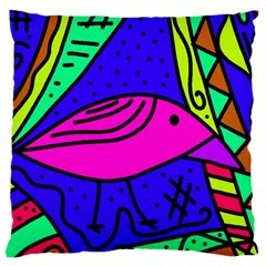 Pink Bird Large Cushion Case (two Sides) by Valentinaart