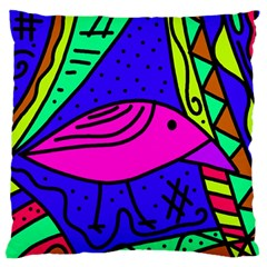 Pink Bird Large Flano Cushion Case (two Sides) by Valentinaart
